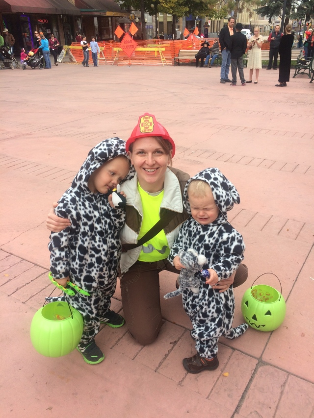 Fireman and dalmatians